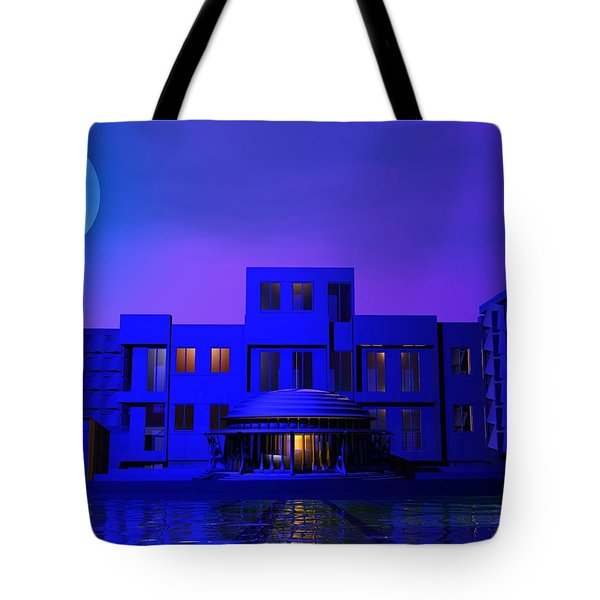 Tote Bag featuring the digital art Urban Blue by John Pangia