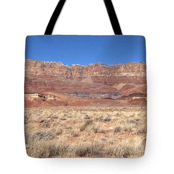 Tote Bag featuring the photograph Vermillion Cliffs Panorama by Bob and Nancy Kendrick