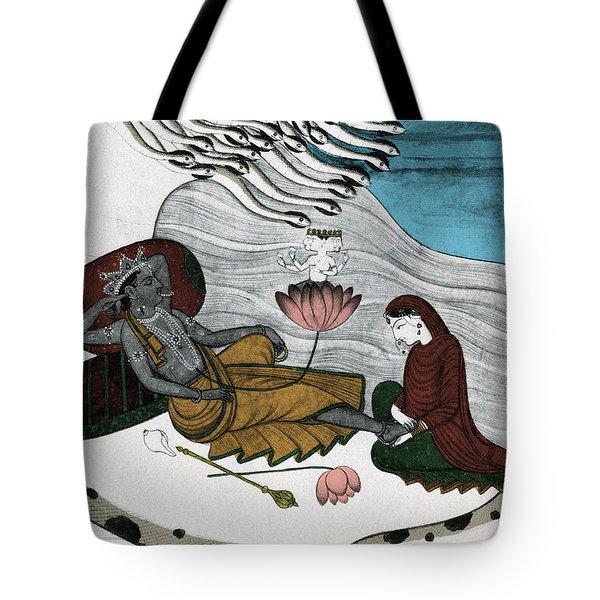 Vishnu And Lakshmi Tote Bag by Photo Researchers