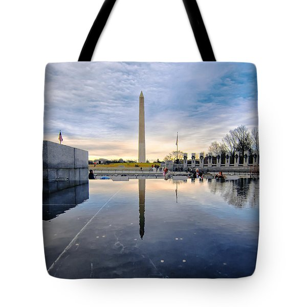Tote Bag featuring the photograph Washington Monument From The World War II Memorial by Jim Moore