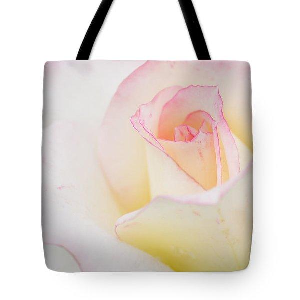 White Rose With Pink Edge Tote Bag by Atiketta Sangasaeng