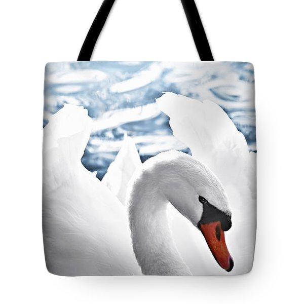 White Swan On Water Tote Bag by Elena Elisseeva
