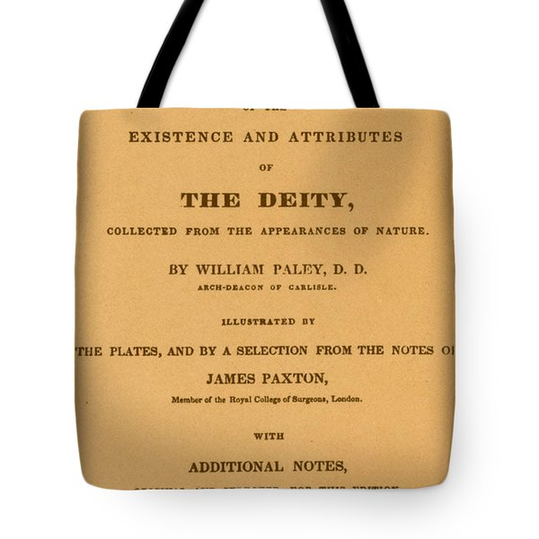 William Paleys, Natural Theology Tote Bag by Science Source