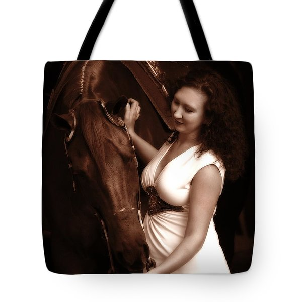 Woman And Horse Tote Bag