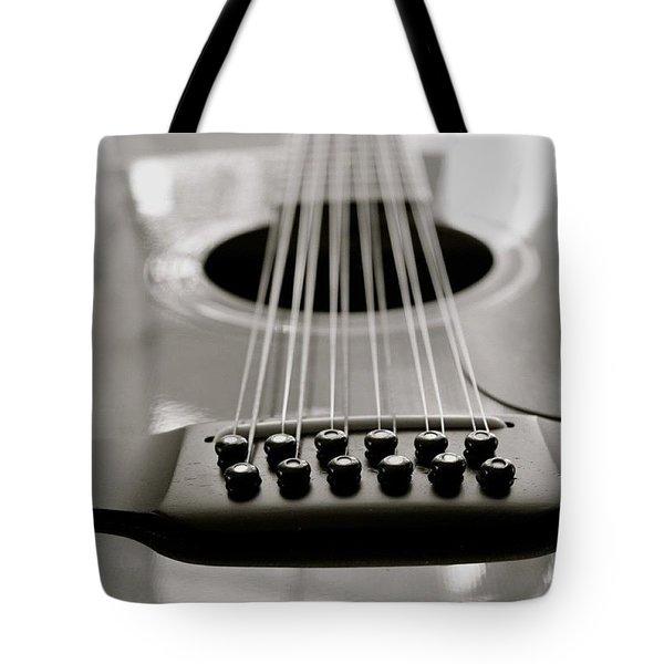 12 String Guitar Long View Bw Tote Bag