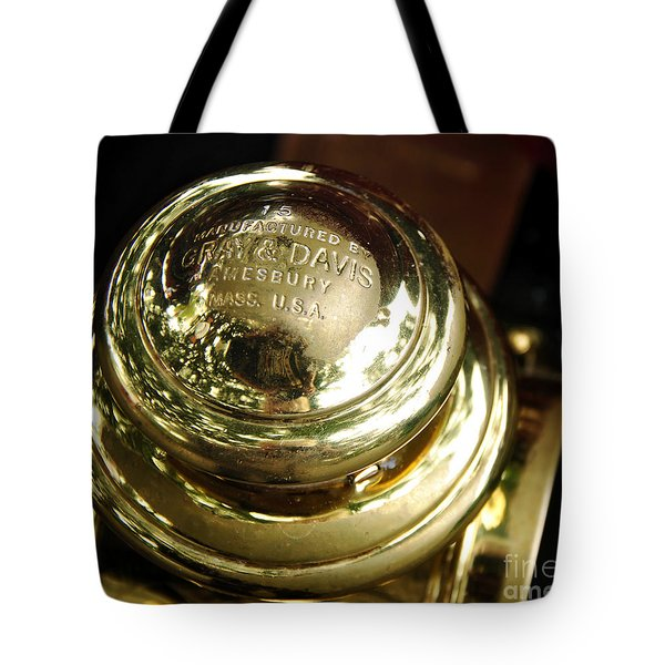 1907 Stanley Steamer - Top View Brass Tail Light Tote Bag by Kaye Menner