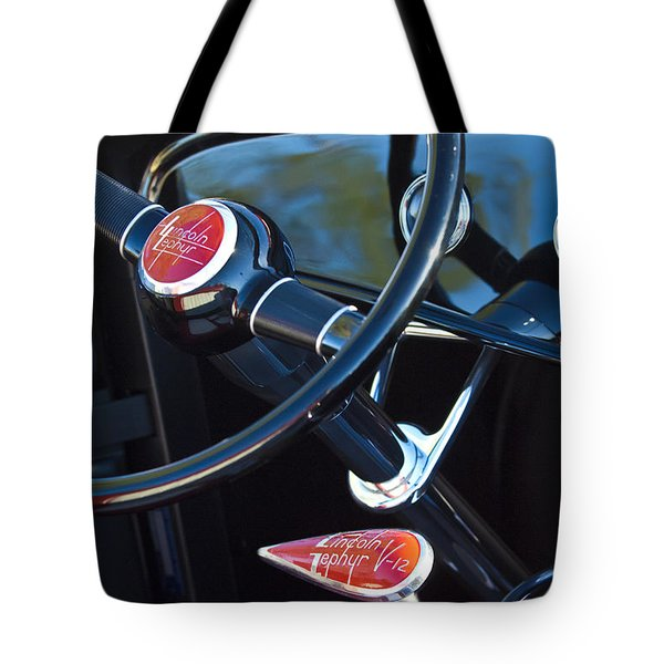 1932 Hot Rod Lincoln V12 Steering Wheel Emblem Tote Bag by Jill Reger