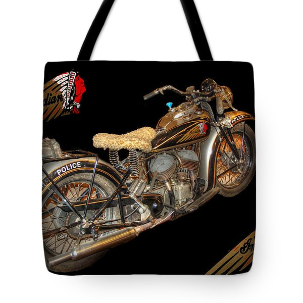 1940 Indian Scout Police Unit Version 3 Tote Bag by Ken Smith