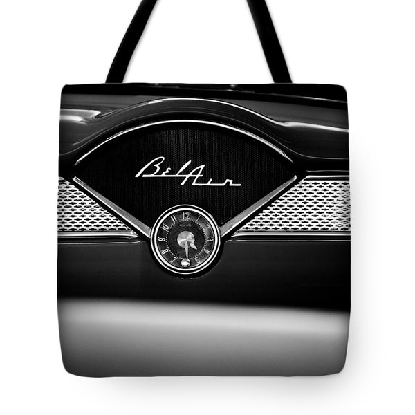 1955 Chevy Bel Air Glow Compartment In Black And White Tote Bag