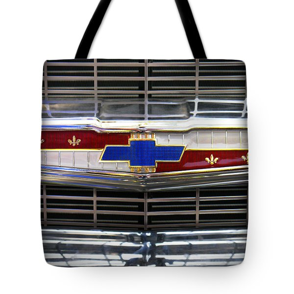 1956 Chevrolet Grill Emblem Tote Bag by Mike McGlothlen
