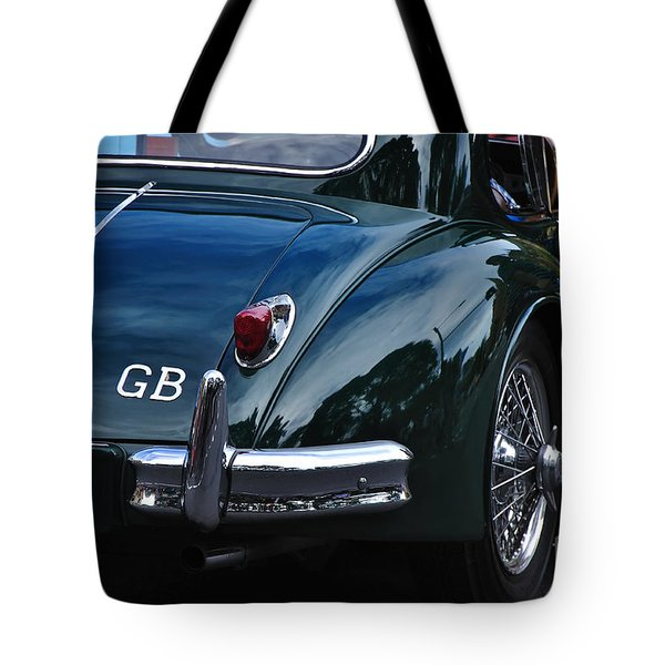 1956 Jaguar Xk 140 - Rear And Emblem Tote Bag by Kaye Menner