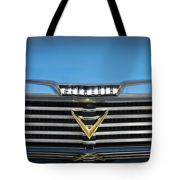 1958 Plymouth Belvedere Convertible Grille Emblem Tote Bag by Jill Reger