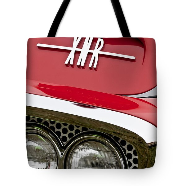 1960 Plymouth Xnr Ghia Roadster Grille Emblem Tote Bag by Jill Reger