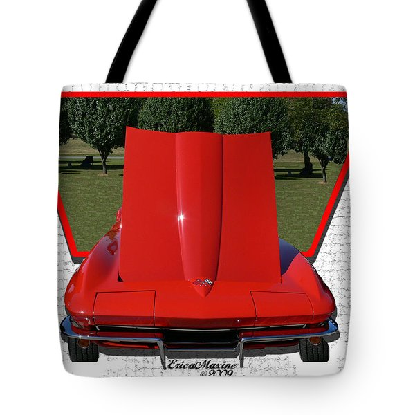 Tote Bag featuring the photograph 1965 Corvette by EricaMaxine  Price