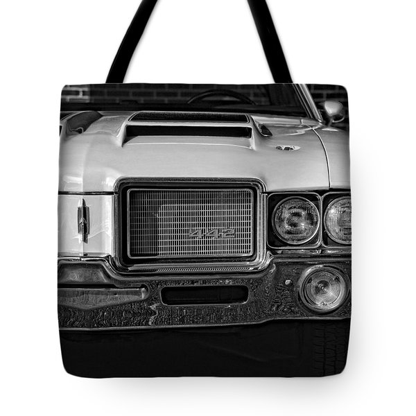 1972 Olds 442 Black And White  Tote Bag by Gordon Dean II