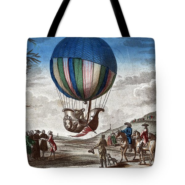 1st Manned Hydrogen Balloon Flight, 1783 Tote Bag by Photo Researchers