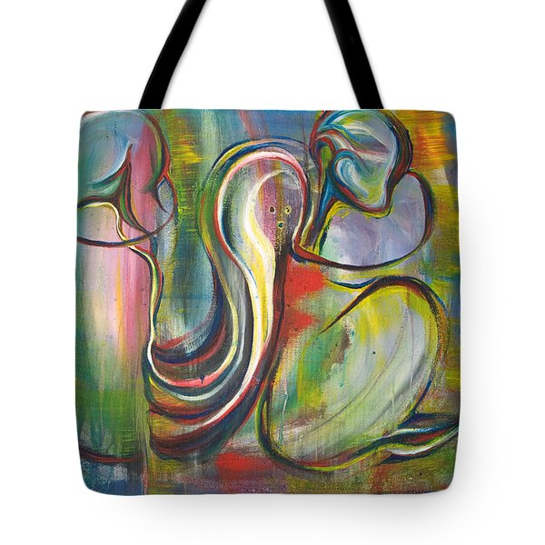 2 Snails And 3 Elephants Tote Bag by Sheridan Furrer