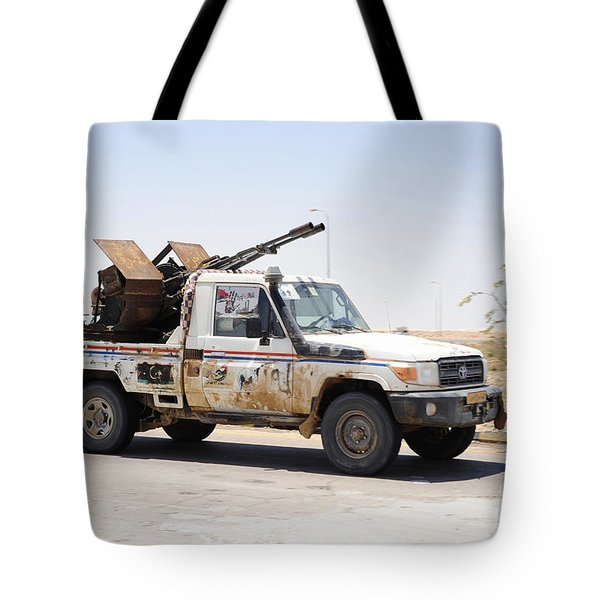 A Free Libyan Army Pickup Truck Tote Bag by Andrew Chittock