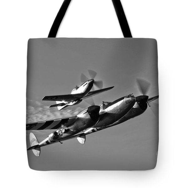 A P-38 Lightning And P-51d Mustang Tote Bag by Scott Germain