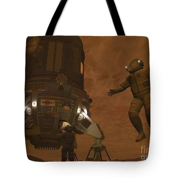 Artists Concept Of Astronauts Exploring Tote Bag by Walter Myers