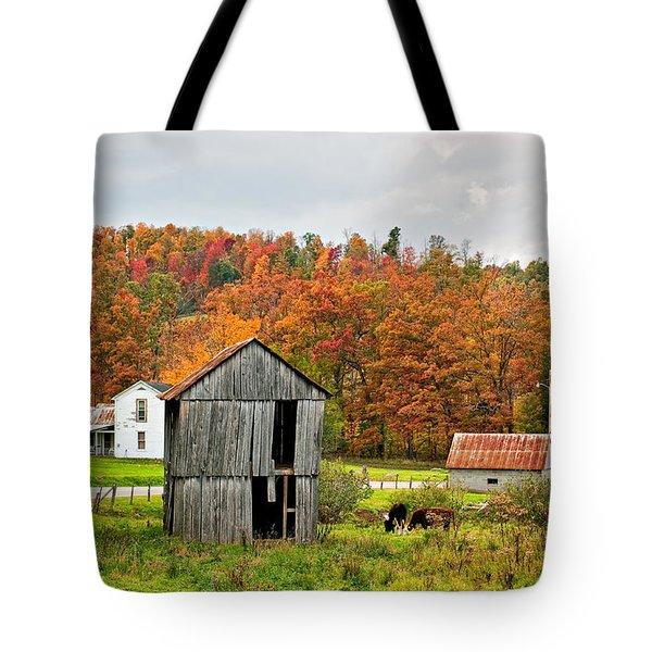 Autumn Farm Tote Bag by Steve Harrington