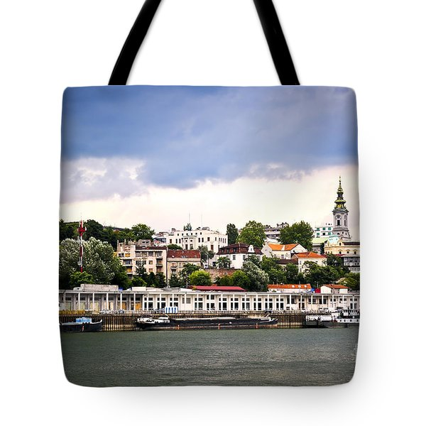 Belgrade Cityscape On Danube Tote Bag by Elena Elisseeva