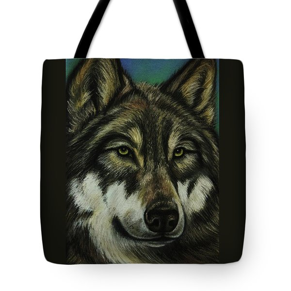 Blue Wolf Tote Bag by Lucy Deane