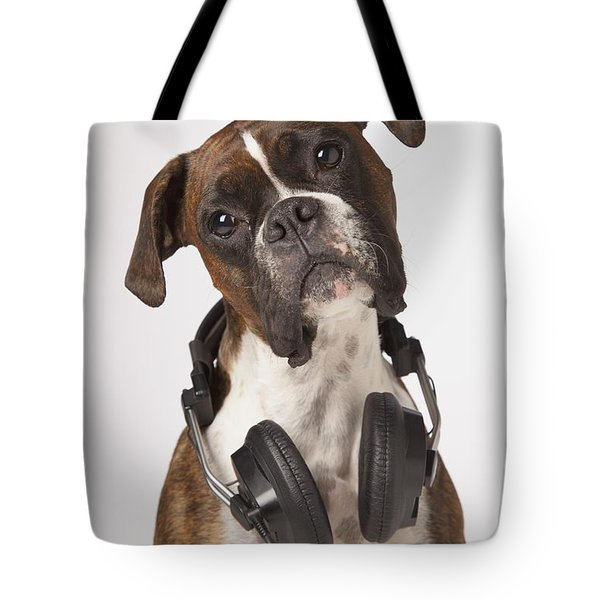 Boxer Dog With Headphones Tote Bag by LJM Photo
