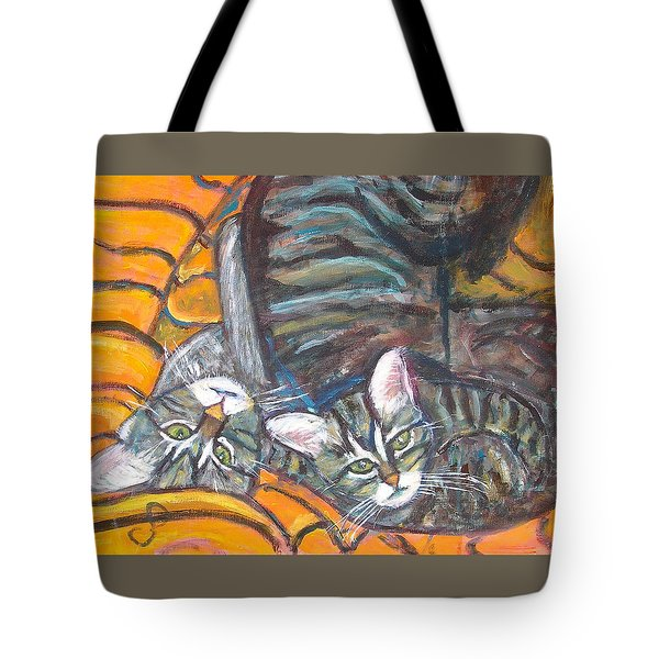 Dos Gatos Tote Bag by Carolyn Donnell