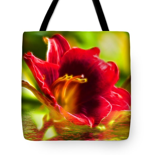 Floral Fractals And Floods Digital Art Tote Bag by David French