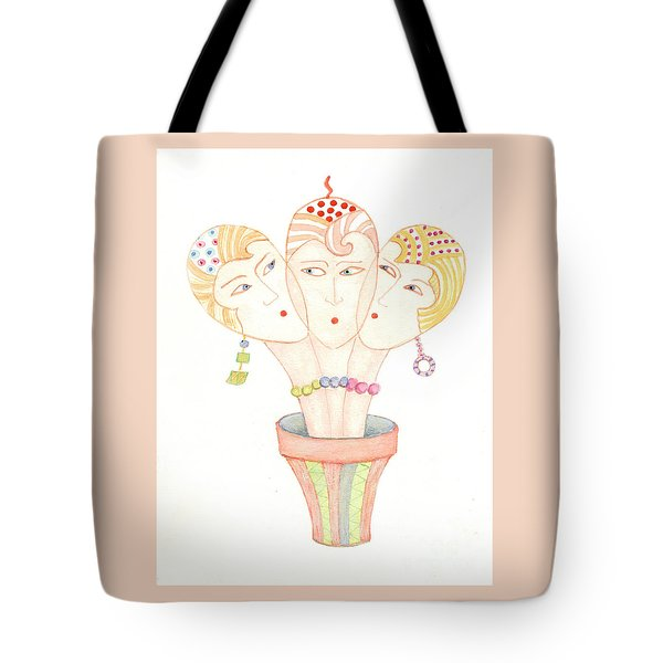 Tote Bag featuring the painting Flower Pot Ladies by Nareeta Martin