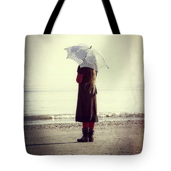 Girl On The Beach With Parasol Tote Bag by Joana Kruse