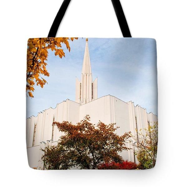 Jordan River Temple Tote Bag by La Rae  Roberts