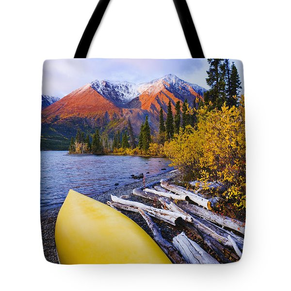 Kathleen Lake And Mountains, Kluane Tote Bag by Yves Marcoux