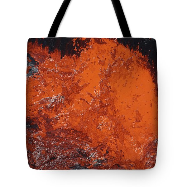 Lava Bursting At Edge Of Active Lava Tote Bag by Richard Roscoe