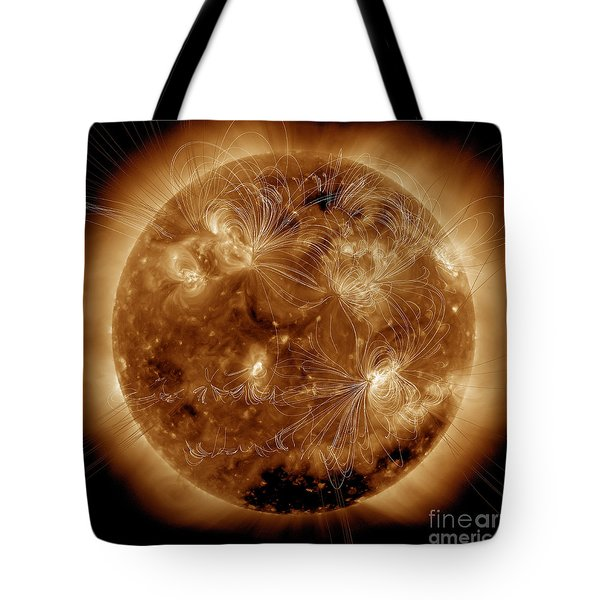 Magnetic Field Lines On The Sun Tote Bag by Stocktrek Images