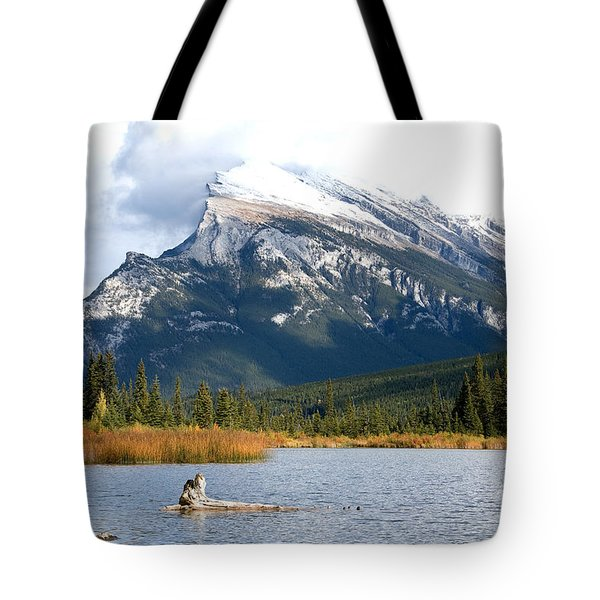 Mt Rundle Banff National Park Tote Bag by Bob and Nancy Kendrick