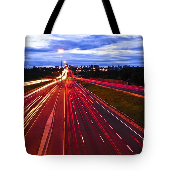 Night Traffic Tote Bag by Elena Elisseeva
