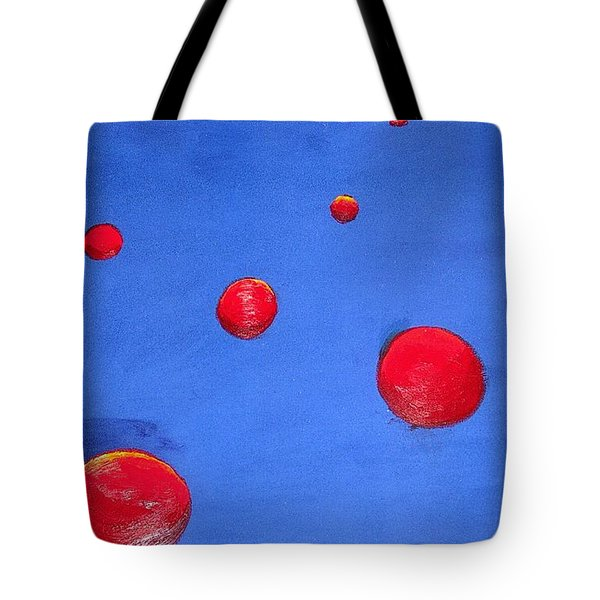 Tote Bag featuring the painting Orbs In Space 1 -- Crossing Paths by Rod Ismay