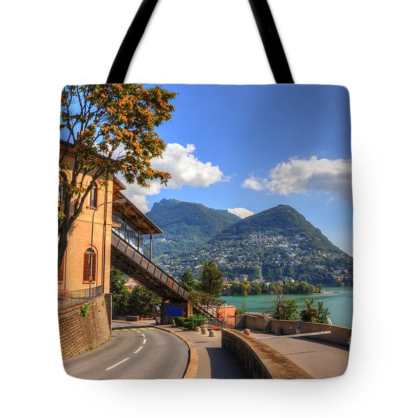Road And Mountain Tote Bag