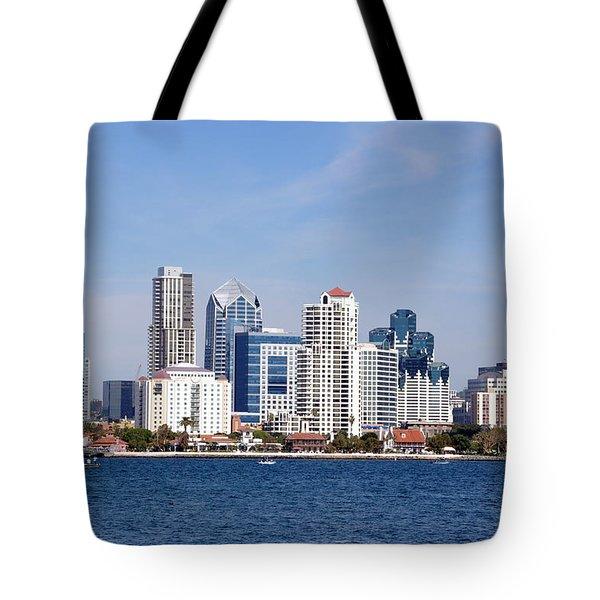 San Diego Skyline Tote Bag by Jeff Lowe