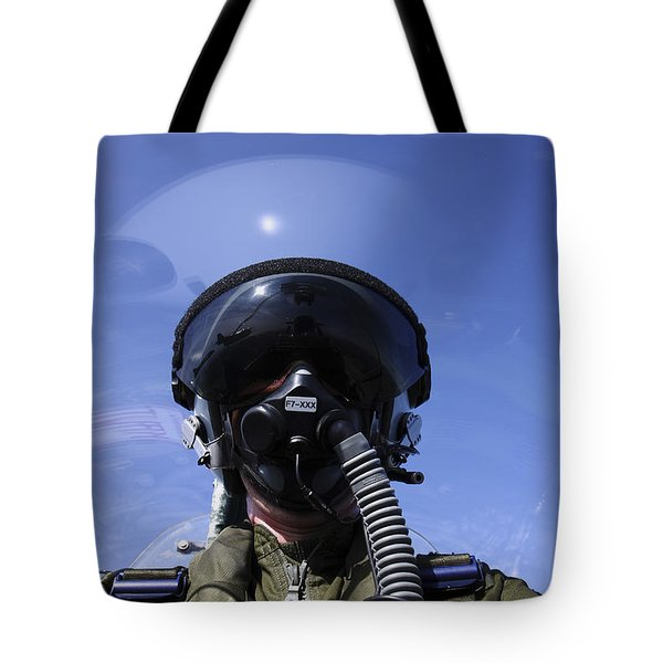 Self-portrait Of A Pilot Flying Tote Bag by Daniel Karlsson
