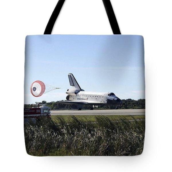 Space Shuttle Atlantis Unfurls Its Drag Tote Bag by Stocktrek Images