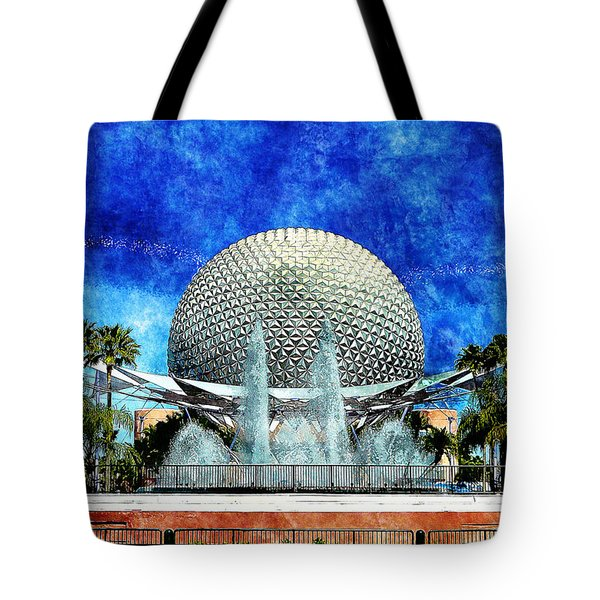 Tote Bag featuring the digital art Spaceship Earth And Fountain Of Nations by Sandy MacGowan