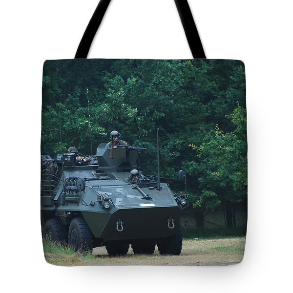 The Pandur Recce Vehicle In Use Tote Bag by Luc De Jaeger