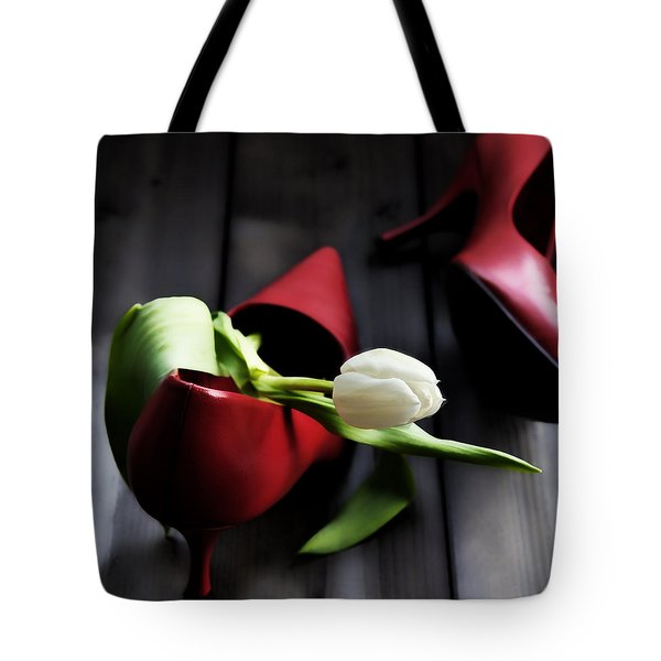 White And Red Tote Bag by Joana Kruse