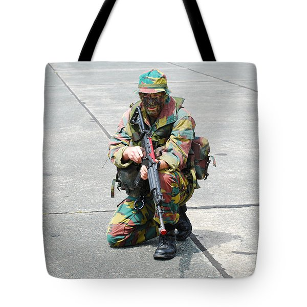 A Paratrooper Of The Belgian Army Tote Bag by Luc De Jaeger