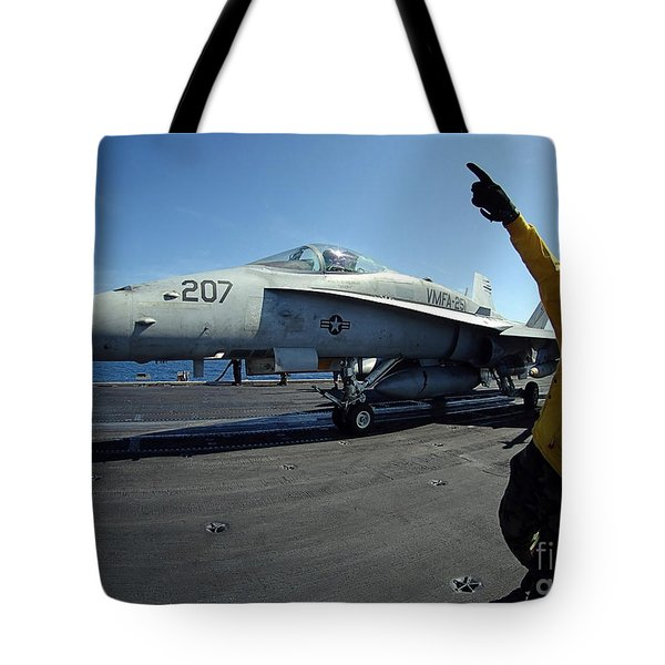 Aviation Boatswains Mate Directs Tote Bag by Stocktrek Images