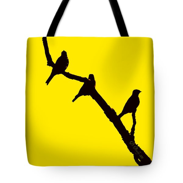 Tote Bag featuring the photograph 3 Birds On A Limb by Donna Bentley