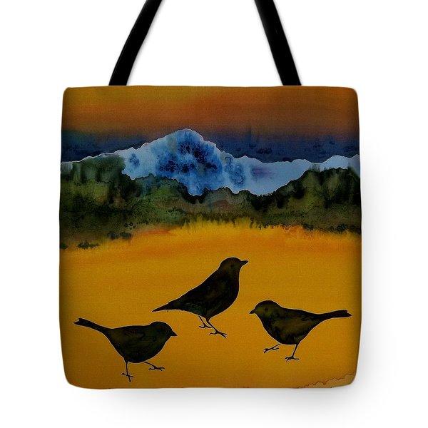 3 Blackbirds Tote Bag by Carolyn Doe